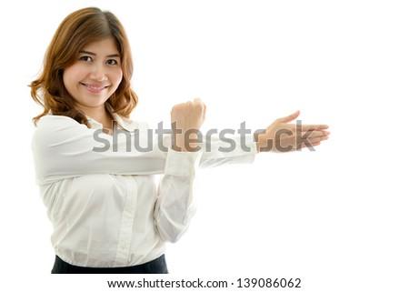 Healthy woman exercising - stock photo