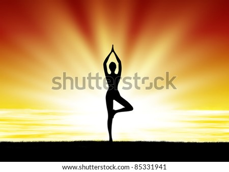 healthy woman  practice yoga at beach during sunset silhouetted - stock photo