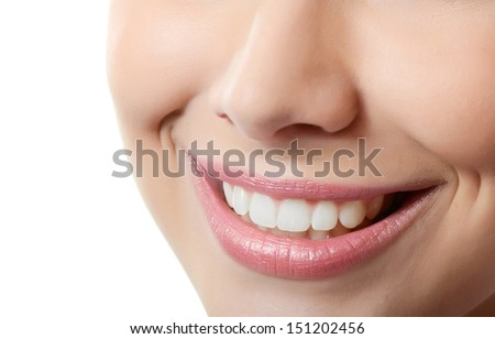 Healthy woman teeth and smile. Close up