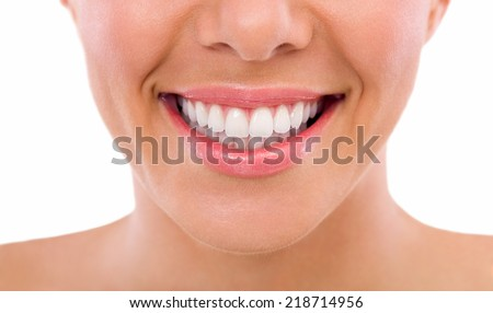 Healthy woman teeth and smile, close up - stock photo