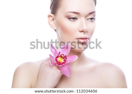 healthy woman with flower on white background