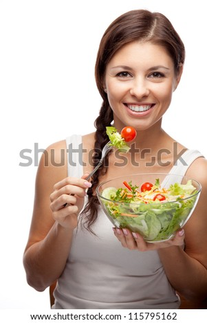 healthy woman with salad on white background