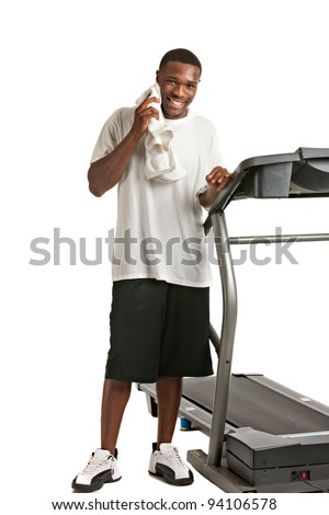 Healthy Young African American Get Ready by Treadmill Isolated on White Background