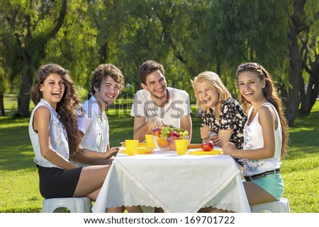 Healthy young teenagers enjoying a summer picnic seated together around a table in a lush green park laughing and joking as they enjoy a healthy meal of fruit. - stock photo