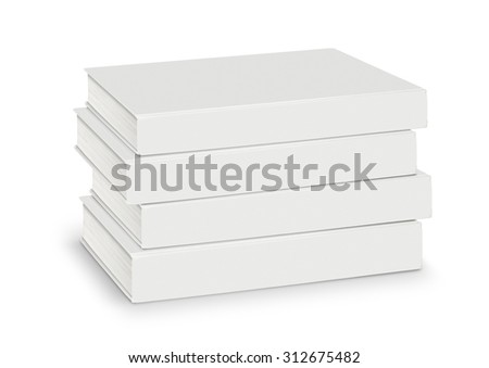 Heap Blanks of white books isolated with path