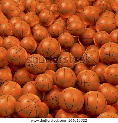 Heap, cluster, pool of orange basketballs, 3d rendering - stock photo