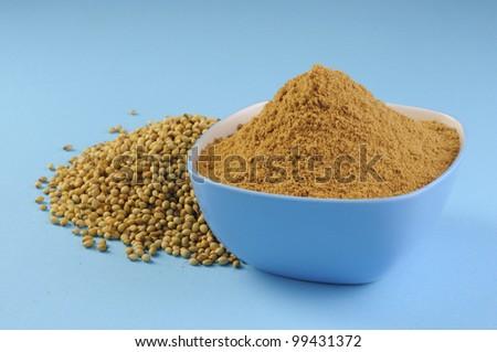 Heap Coriander Seeds and Coriander powder in blue bowl - stock photo