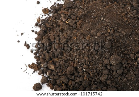 Heap dirt the top view. Isolated on white background