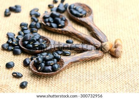 heap dry black beans - stock photo