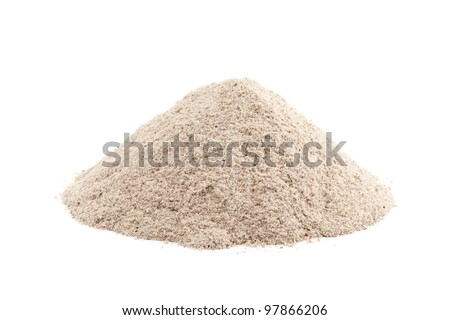 Heap ground White Pepper isolated on white background. Used as a spice in cuisines all over the world. - stock photo