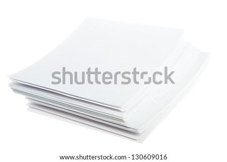 heap note-paper isolated on white