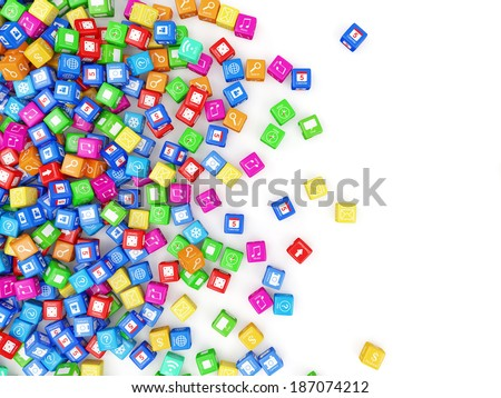 Heap of Application Icons on white background with place for your text - stock photo