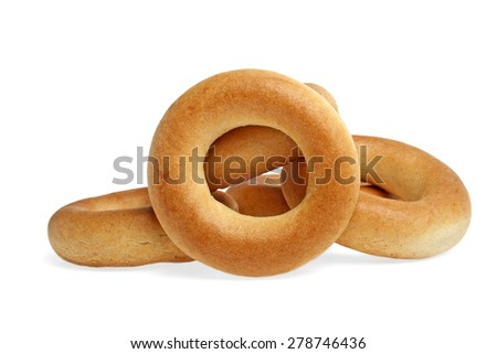Heap of bagels isolated on a white background - stock photo