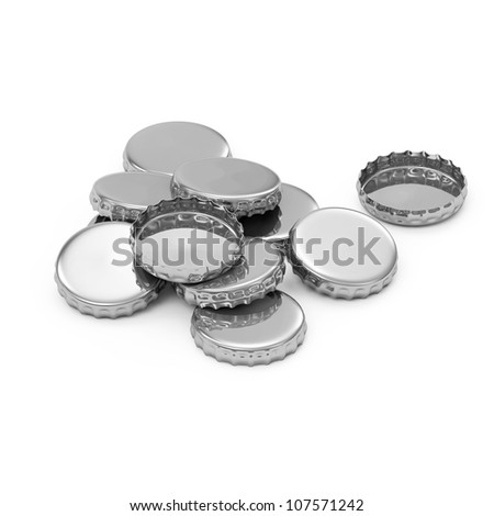 Heap of Beer Caps isolated on white background - stock photo