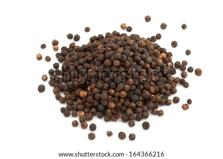 heap of black peppercorns isolated on white background - stock photo