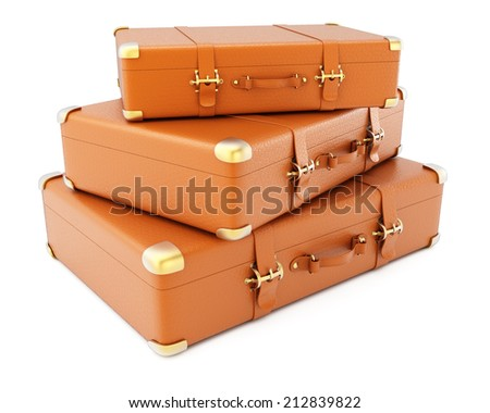 Heap of brown leather suitcases isolated on white background. 3d rendering image - stock photo