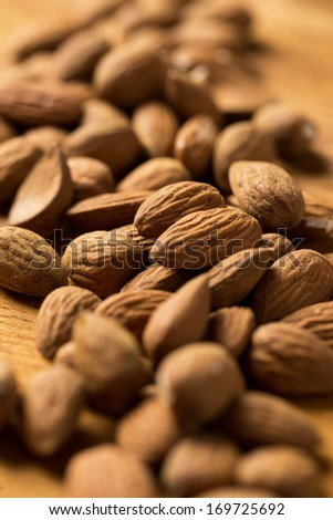 Heap of brown nuts on the table