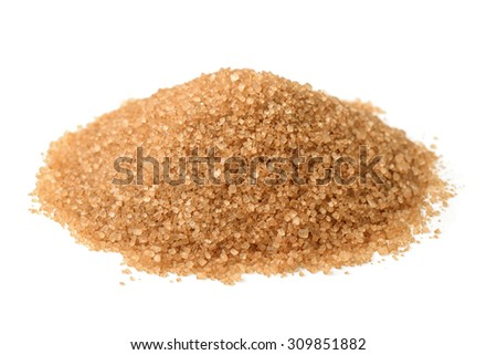 Heap of brown sugar isolated on white - stock photo