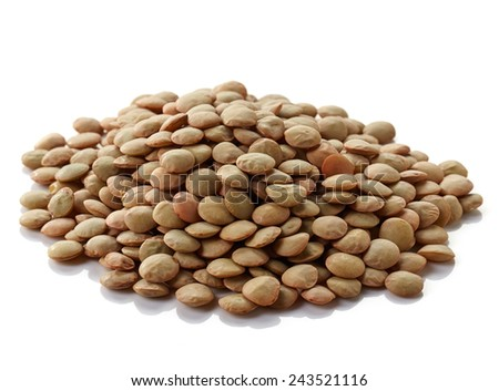 Heap of canadian lentils isolated on white background - stock photo