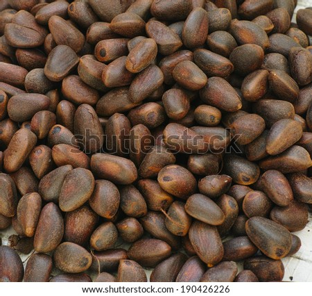 heap of cedar nuts on background