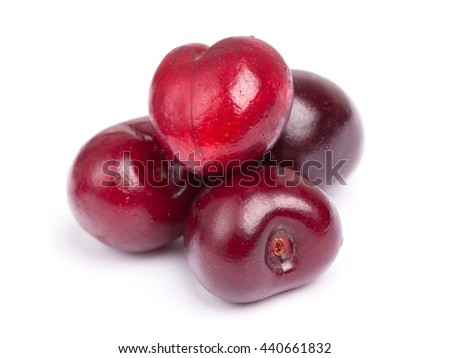 Heap of cherries isolated on white background - stock photo