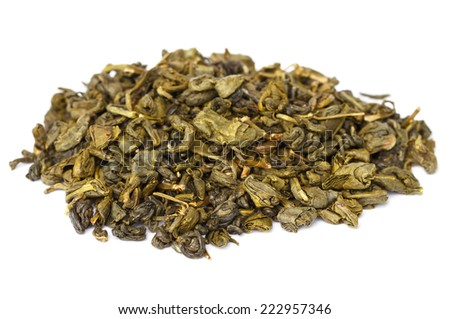 Heap of Chinese green tea  - stock photo