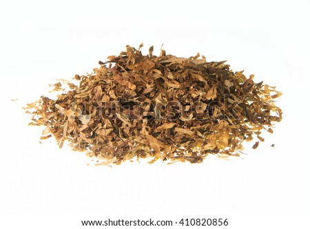 Heap of cigarettes ,tobacco,cannabis on white background , side view - stock photo