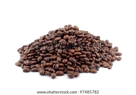 heap of coffee beans isolated on white background - stock photo