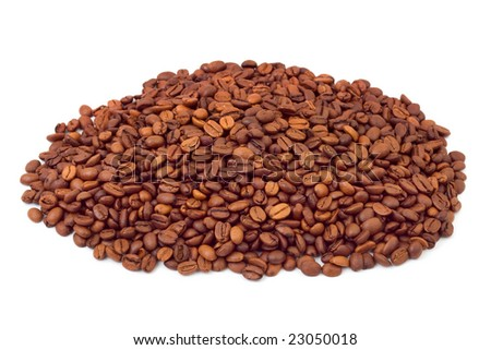 Heap of coffee isolated on white background