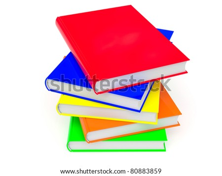Heap of colored books rendered with soft shadows on white background