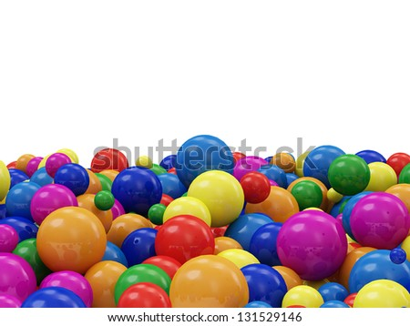 Heap of Colorful Balls isolated on white background with place for Your text - stock photo