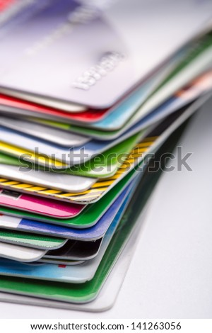 Heap of colorful credit cards