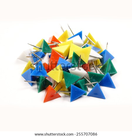Heap of Colorful Pushpins or Drawing Pins isolated on white background