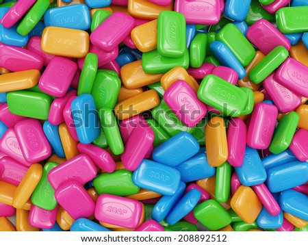 Heap of Colorful Soap isolated on white background - stock photo