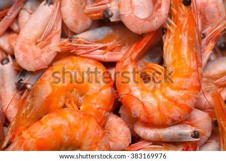 Heap of cooked red shrimps.