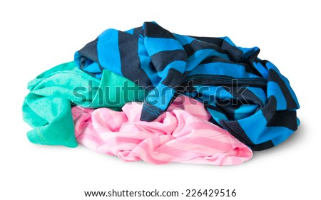 Heap Of Crumpled Colourful Clothes Isolated On White Background - stock photo