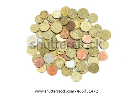 Heap of different Euro coins isolated on white background, viewed from above.