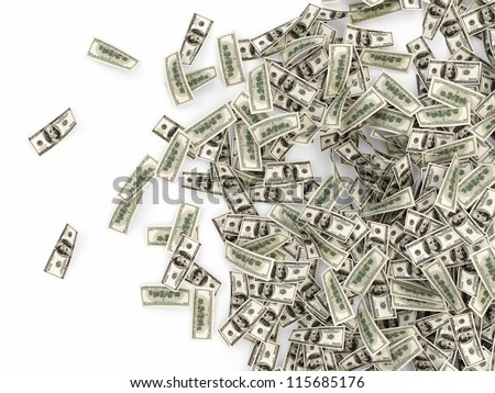 Heap of Dollar Bills isolated on white background with place for your text - stock photo