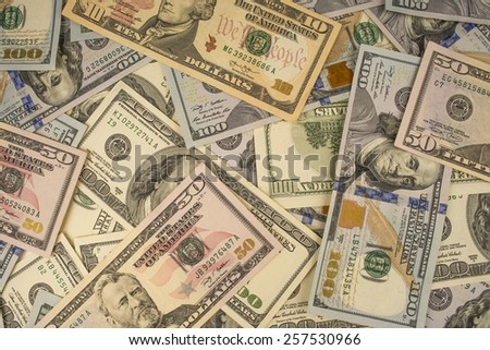 Heap of dollars close-up - stock photo