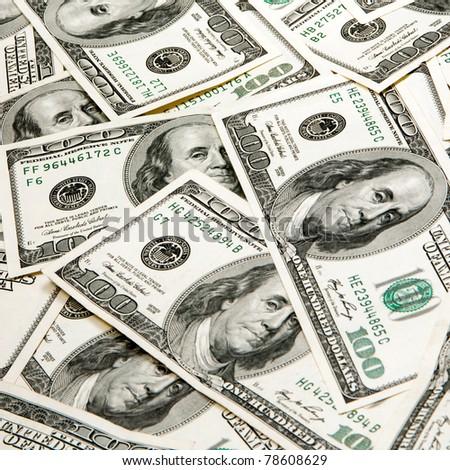 heap of dollars, money background - stock photo