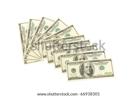 heap of dollars, money background isolated on white - stock photo