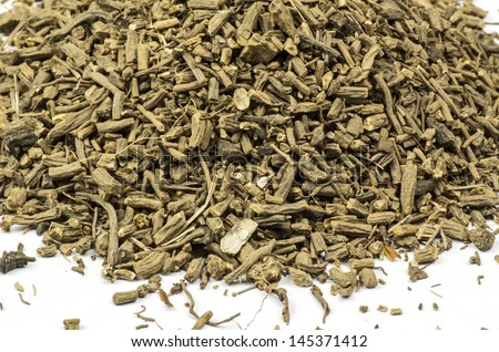 Heap of dried and cut Valerian