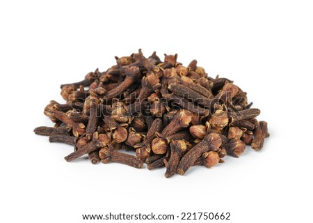 heap of dried cloves, isolated on white background - stock photo