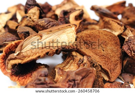 Heap of dried forestry mushrooms isolated on white background - stock photo