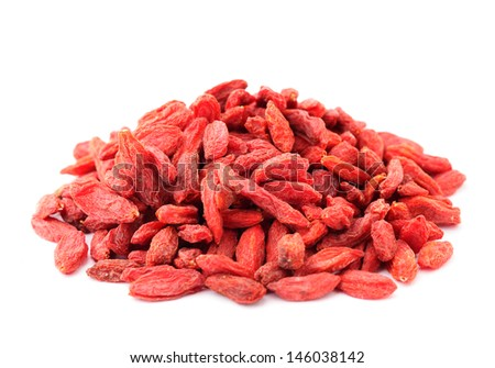 Heap of dried goji isolated on white background - stock photo