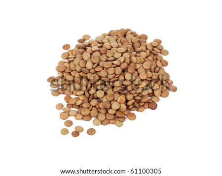 heap of dried lentils on white background