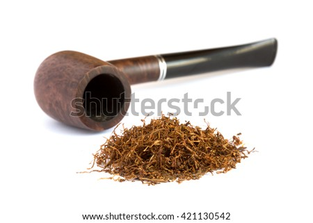 Heap of dry Tobacco and stylish Vintage Pipe on white Background