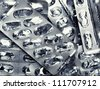 Heap of empty medicine plates - stock photo