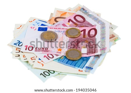 Heap of euro banknotes and coins isolated on white background with clipping path - stock photo