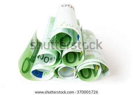 heap of 100 euro banknotes isolated on white - stock photo